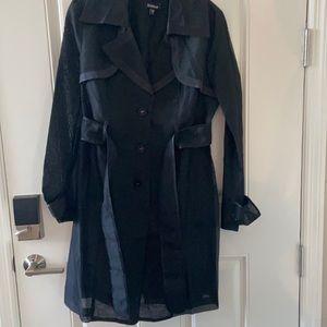 Bebe organza sheer trench coat